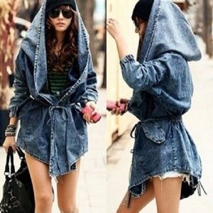 Jean Jacket Mineral Wash Denim Hooded Parka